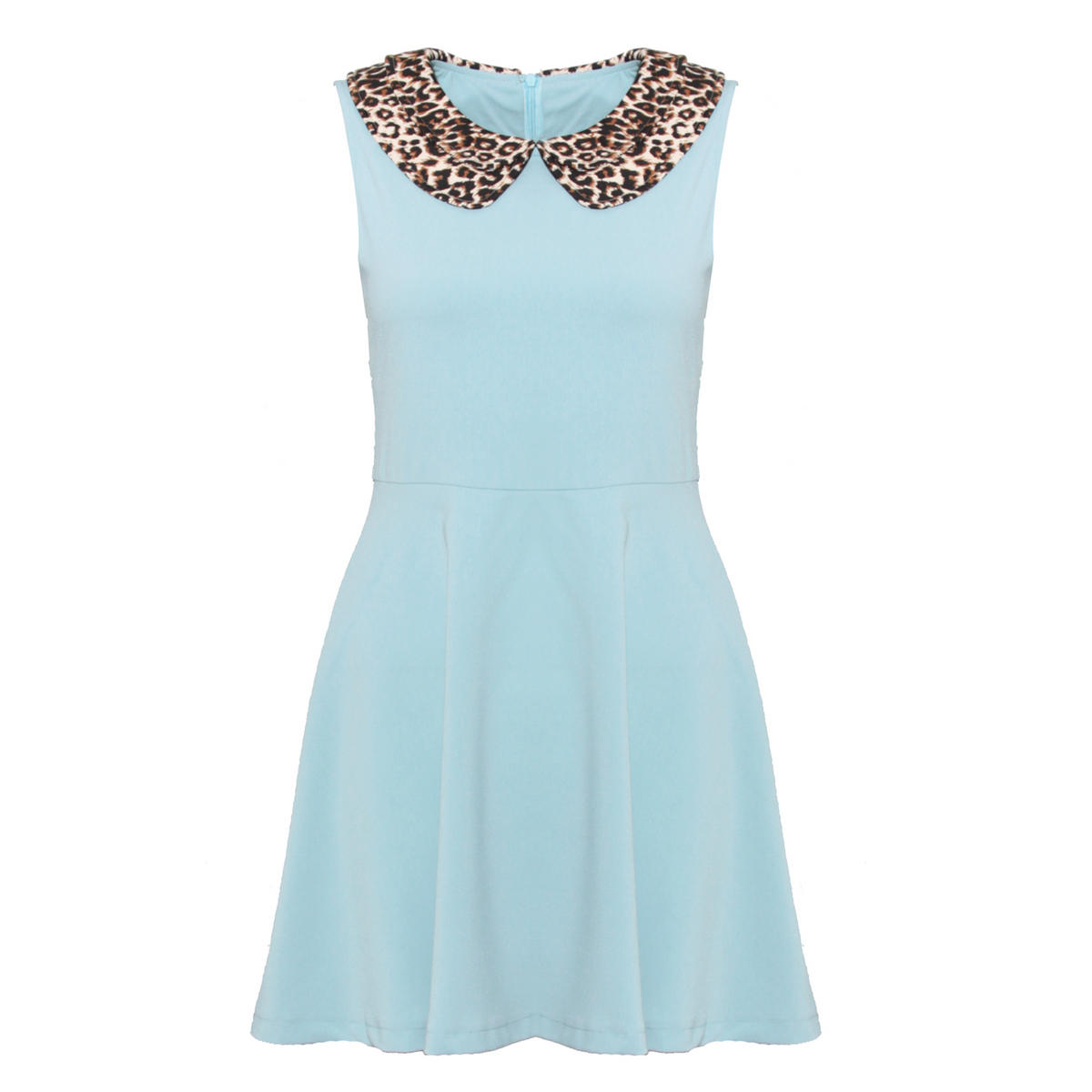 Leopard Print Peter Pan Collar Blue Dress Preview
